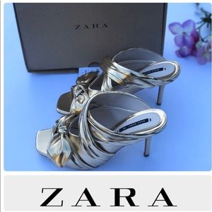 Zara leather heels with bow